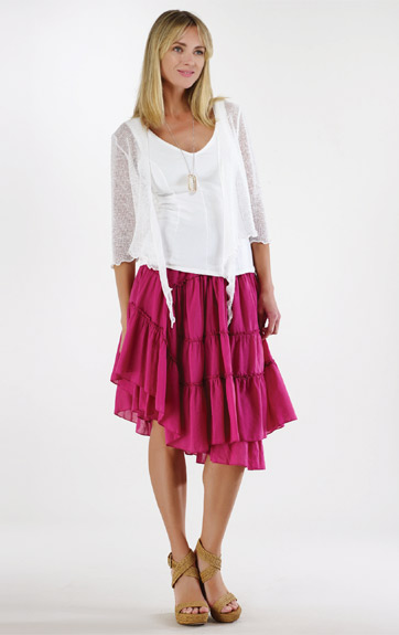 Luna Luz Garment Dyed Shrug and Positano Tiered Ruffled Skirt