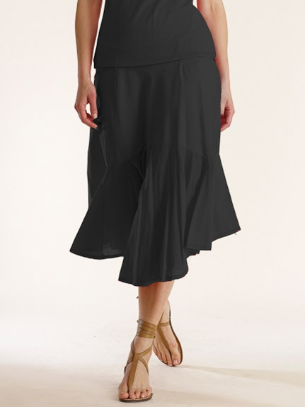 Luna Luz Garment Dyed A Line Ruffled Skirt