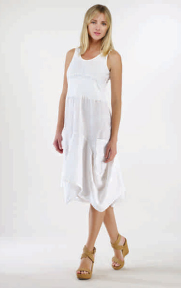 Luna Luz Garment Dyed Linen and Rib Tank Dress