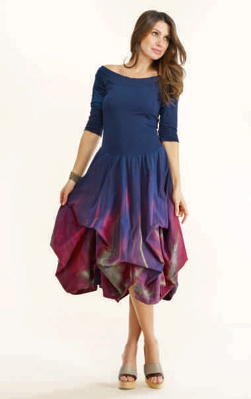 Luna Luz Feather Dyed Off Shoulder Dress with Interior Ties