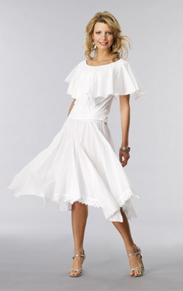Luna Luz Garment Dyed Ruffled Top and Skirt with Lace Trim